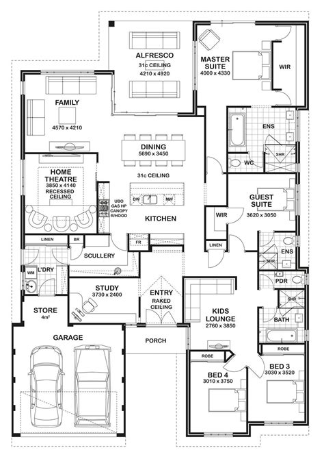 3 4 bathroom floor plans floor plan friday 4 bedroom 3 bathroom home
