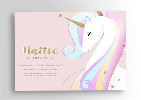 unicorn birthday card template unicorn birthday invitation unicorn invitation unicorn
