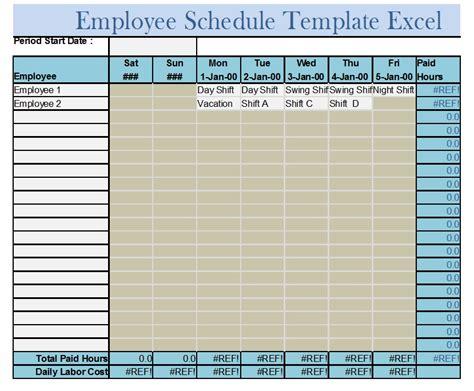6 free sle staff schedule templates openoffice calc