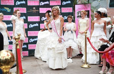 Wedding Dress Sweepstakes - winner crowned at the 10th annual toilet paper wedding dress contest at new york city