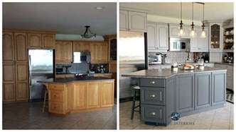 painted oak cabinets before and after before and after painted oak kitchen cabinets in gray