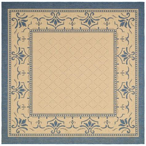 Safavieh Courtyard Natural Blue 7 Ft 10 In X 7 Ft 10 In Outdoor Rug 10 X 10