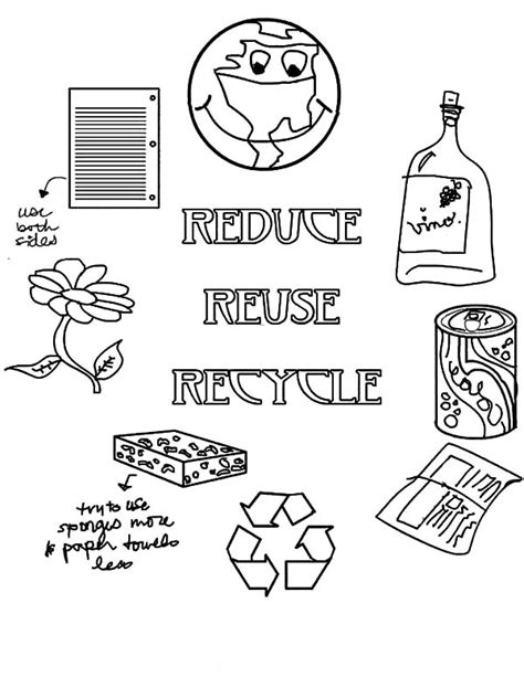 coloring pages for recycling reduce reuse recycle coloring pages coloring home