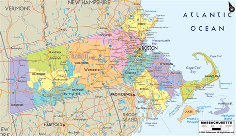massachusetts city map detailed political map of massachusetts ezilon maps