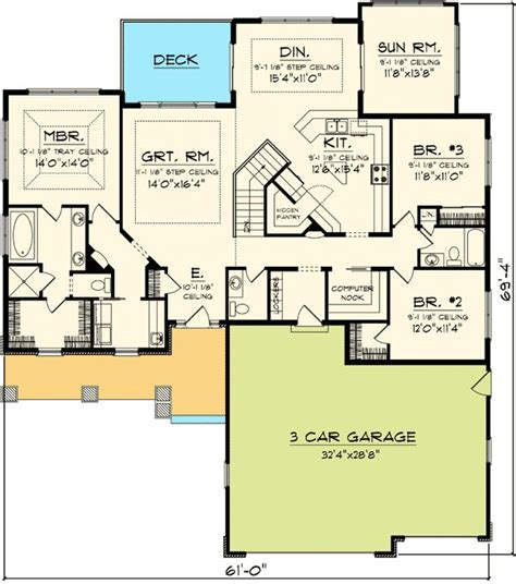 design basics ranch home plans plan 89852ah craftsman ranch with sunroom computer nook