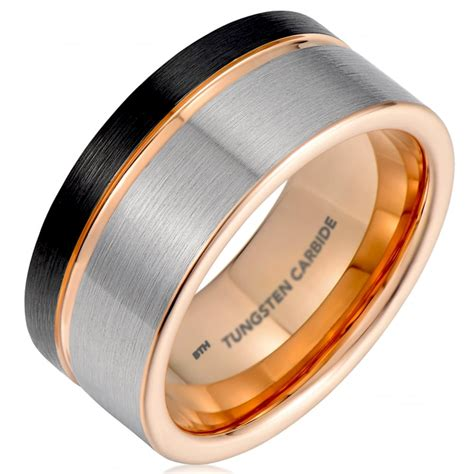 mens black gunmetal grey tungsten carbide wedding ring