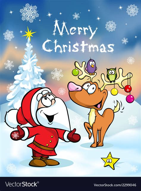 merry christmas greeting card funny santa claus vector image