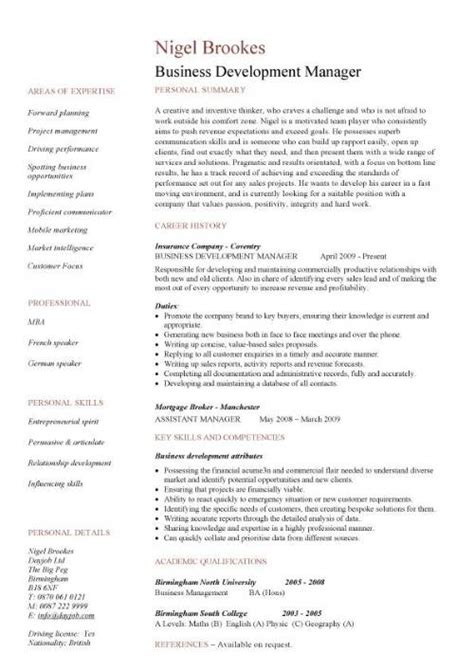 Resume Sles Of Business Development Manager Business Development Manager Cv Template Managers Resume Marketing Application Revenue