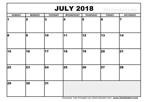 Calendar For July July 2018 Calendar Printable
