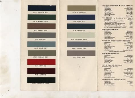 morris minor colours search wish list search morris minor and colour