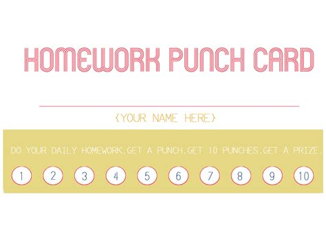 homework punch card template the hill family new years goals and organization