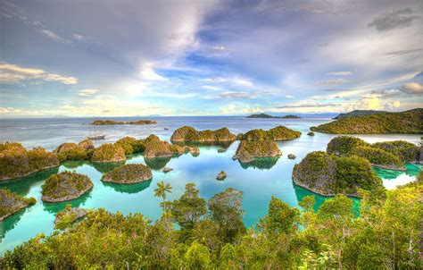 wallpaper sea islands tropics yachts indonesia hdr