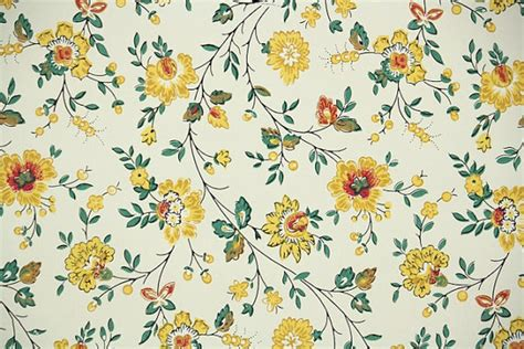Flower Wallpaper Etsy | 1940s vintage wallpaper by the yard floral wallpaper with