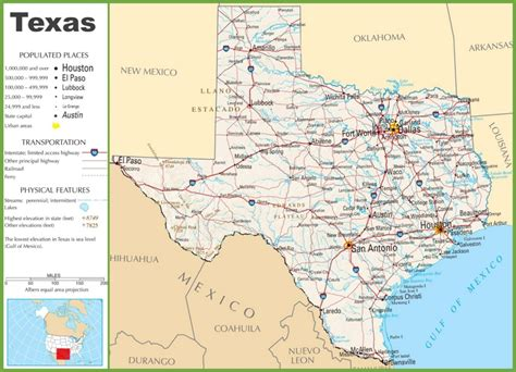 texas map with texas highway map