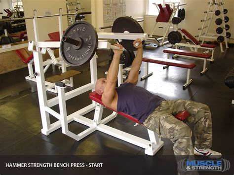 bench press routine for strength hammer strength bench press video exercise guide tips
