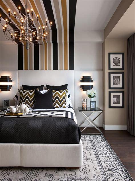 modern master bedroom  striped wall treatment hgtv