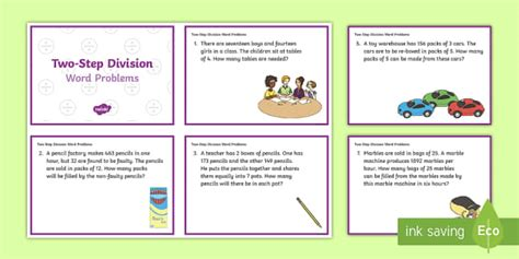 year 6 maths challenge cards ks2 two step division word problems maths challenge cards