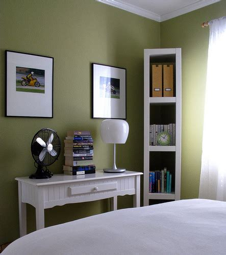 bedrooms behr ryegrass green walls paint color desk fan l bookshelf via