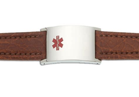 mens leather id bracelets s brown leather and stainless adjustable id