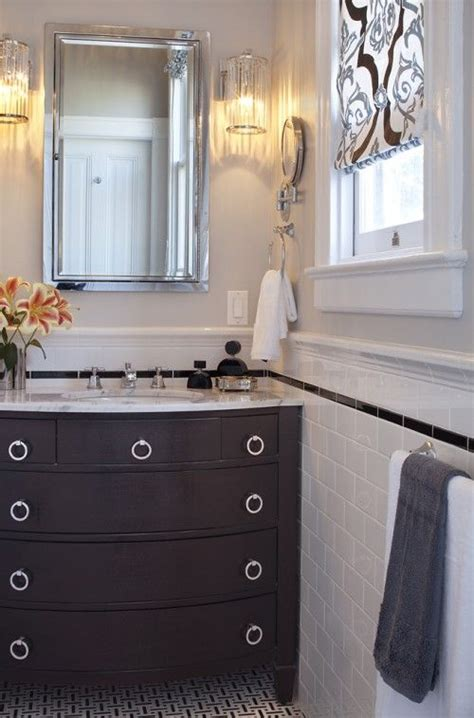 subway square then crown black and white tile vanity