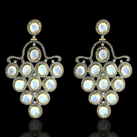 Sterling Silver Chandelier 44 73ct Moonstone 14k Gold Sterling Silver Chandelier Earjewellery Ebay