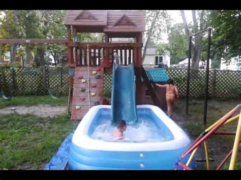 backyard playscapes quot the playscape plunge quot backyard water slide youtube