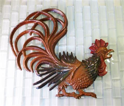 painted rooster wall decor home decorations