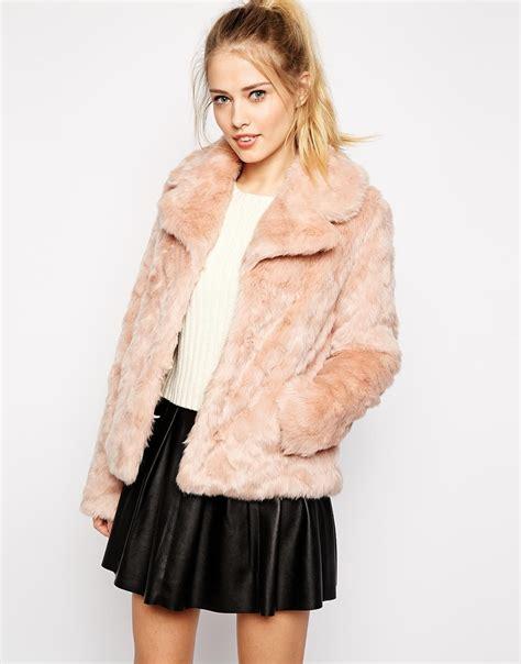 Jaket Parka Abuabu Pink Bb lyst oasis faux fur coat in pink