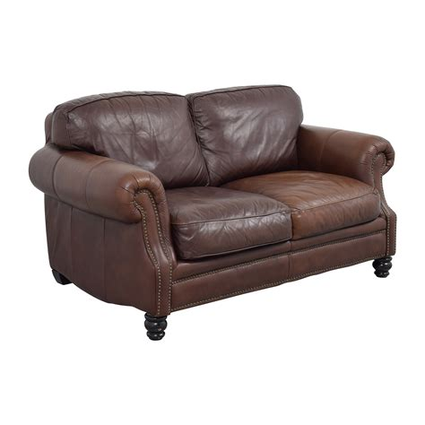 sofa loveseats 68 off brown leather studded loveseat sofas
