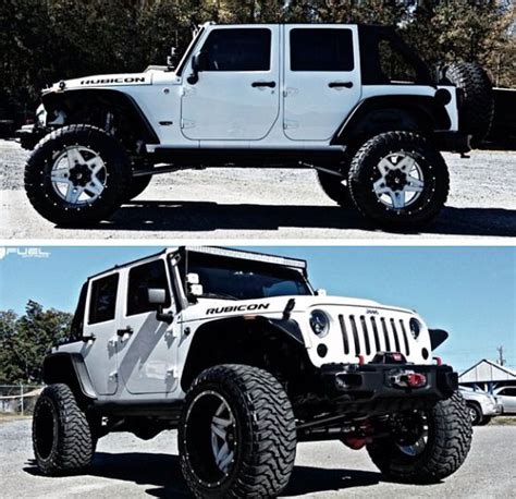 white jeep black rims lifted i drive one of these to but it has black rims and its