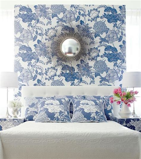 wallpaper blue room wallpaper accent wall transitional bedroom house