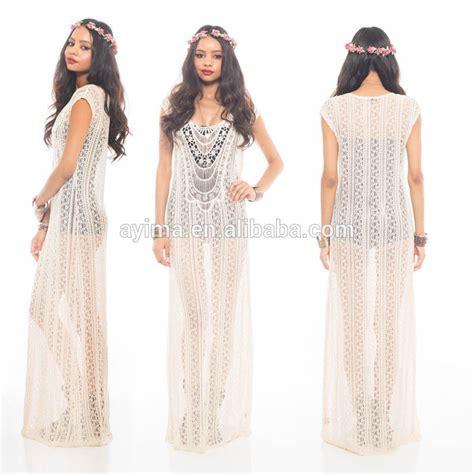 pattern hippie dress fashion woman crochet maxi dress sleeveless hippie boho