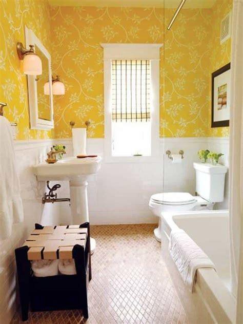 guest bathroom ideas yellow floral wallpaper