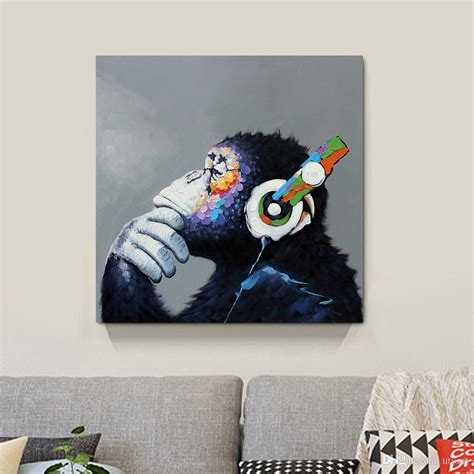 2018 thinking monkey canvas painting home decor canvas