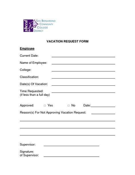 vacation request template 5 vacation request form templates excel xlts