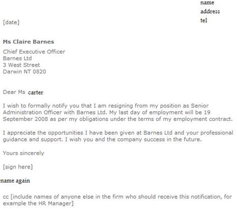 formal resignation letter examples learnistorg