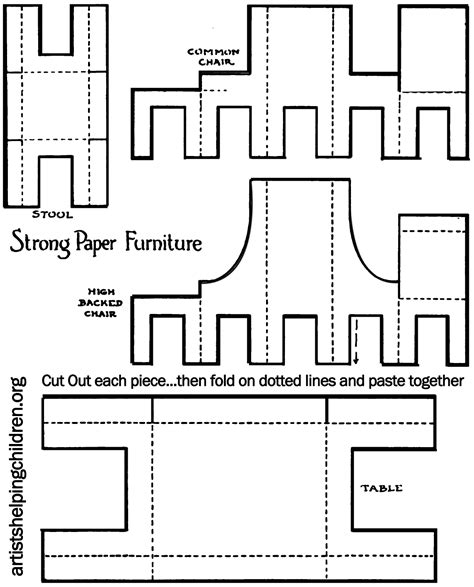 cardboard furniture templates how to make a paper doll house table chairs