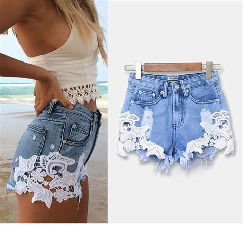 hot pattern jeans lace floral pattern patchwork ripped shorts denim high