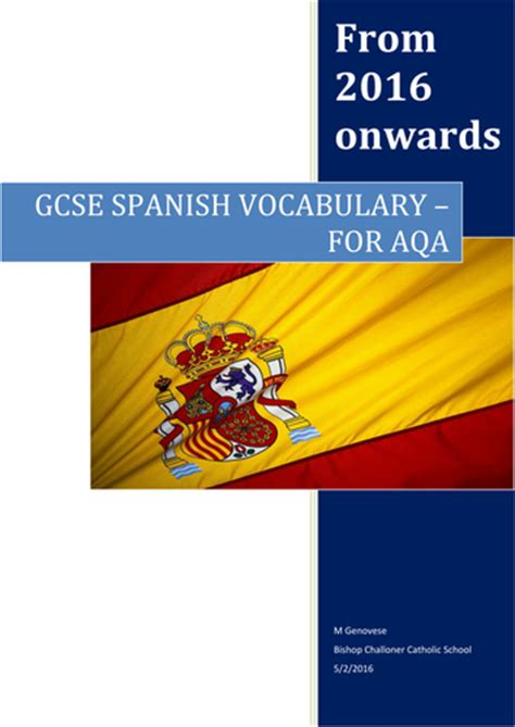 aqa a level spanish revision aqa new gcse french vocabulary booklet with and without english words by uk teaching resources