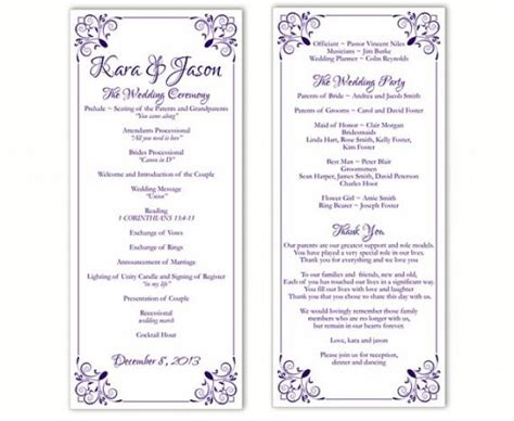 free printable wedding program templates word wedding program template diy editable word file instant