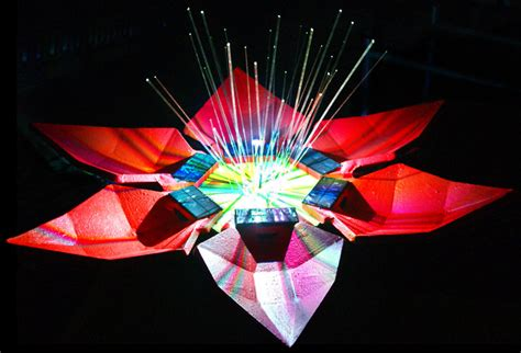 Solar Panel Flowers Charge By Day And Light Up At by Solar Powered Led Flower Sculpture Lights Up The Solar