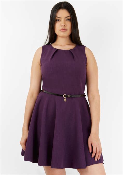 Closet Dresses Uk by Closet Purple Belted Skater Dress