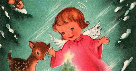 merry vintage syle  pink angel vintage christmas card