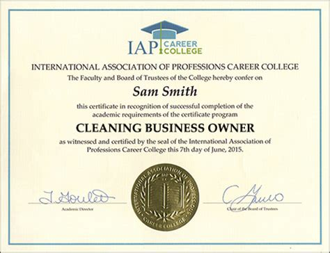cleaning business owner certificate course cleaning business certificate