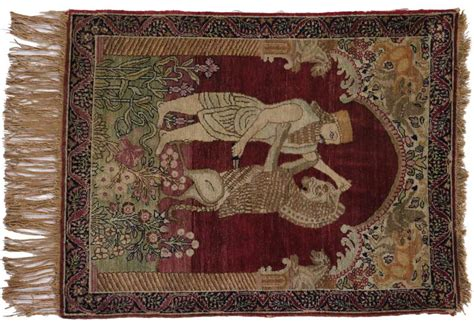 king furniture rugs antique kerman rug with pictorial king darius achaemenid at persepolis for sale at 1stdibs