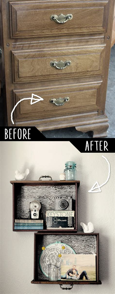 Dresser Drawer Wall Shelves by 50 Clever Diy Furniture Hacks That Everyone Needs To