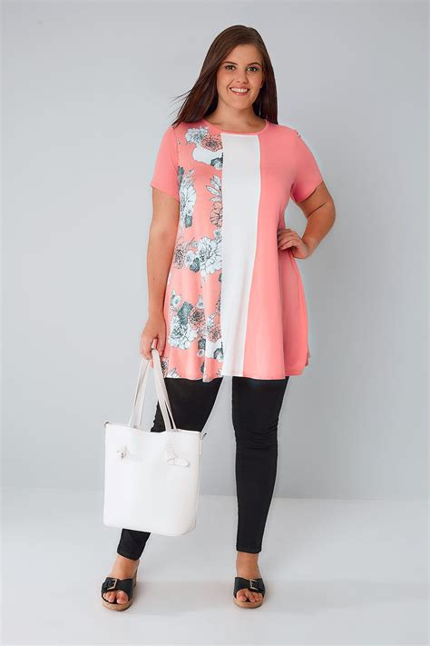 white swing top pink white swing top with floral panel plus size 16 to 36