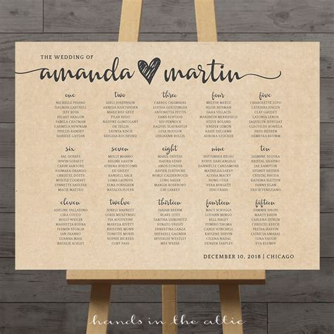Wedding Seating Chart by Kraft Wedding Seating Chart Printable Stationery