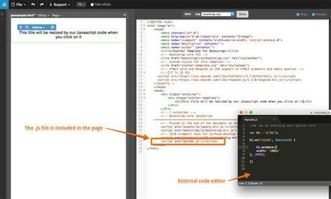 tutorial javascript external using javascript pinegrow web editor documentation and