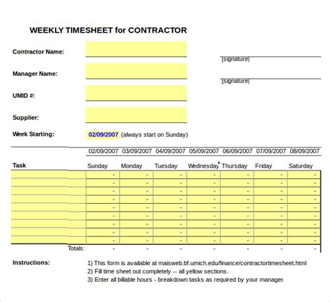 Timesheet For Contractors Template Free Excel 20 Contractor Timesheet Templates Free Sle Exle Format Download Free Premium Templates